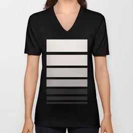 Grey Minimalist Watercolor Mid Century Staggered Stripes Rothko Color Block Geometric Art Unisex V-Neck