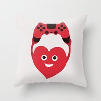 gaming Throw Pillows featuring Gaming Heart by Boriana Giormova