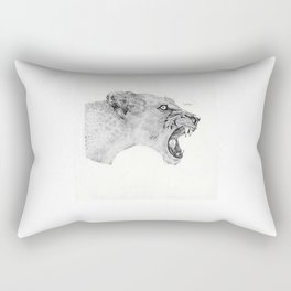 Dotwork Lioness Rectangular Pillow