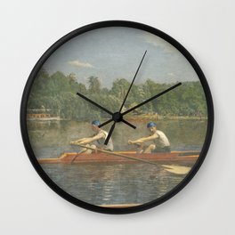 The Biglin Brothers Racing by Thomas Eakins Wall Clock