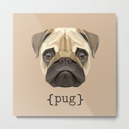 Cute Watercolor Pug Face Definition Metal Print