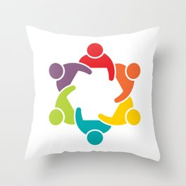 People Group in Meeting. Teamwork Concept Throw Pillow