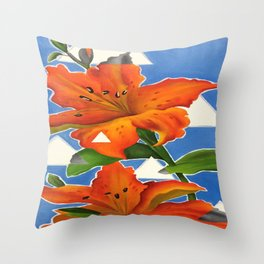 Flowers and Fragments Throw Pillow