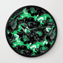 Mount Cook Lily - Green/Black Wall Clock