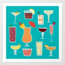 Retro Cocktails Art Print