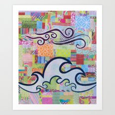 The Tide is High colorful ocean wave sky collage Art Print