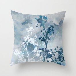 Blue Floral Botanical Watercolor Painting Throw Pillow