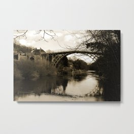 Worlds First Ironbridge over River Severn in England in sepia Metal Print
