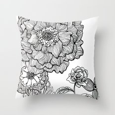 flower line drawing Throw Pillow