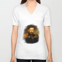 replaceface V-neck T-shirts featuring Ricky Gervais - replaceface by replaceface