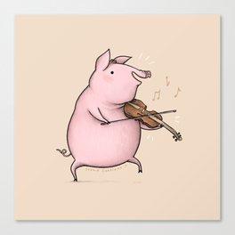 Piggy on the Fiddle Canvas Print