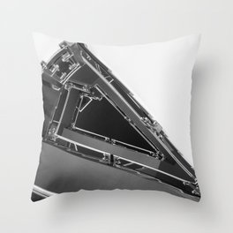 Triangle Space Ship Architecture Stairs BW Throw Pillow