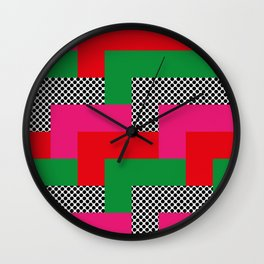 It reminds me of tetris, I don't know why. Red-Pink-Dots-Green. Wall Clock