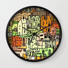 Doodle Crazy village town illustration Autumn  Wall Clock