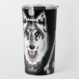 Silver Wolf Geometric Travel Mug