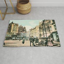 Antwerp Belgium city center restored view around 1900 Rug