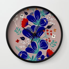 Folk Spring Flowers blooms Wall Clock