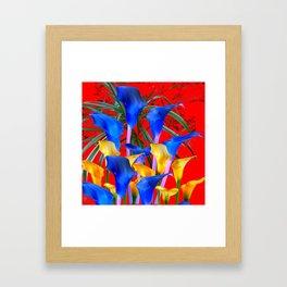YELLOW & AZURE BLUE CALLA LILIES RED ART Framed Art Print