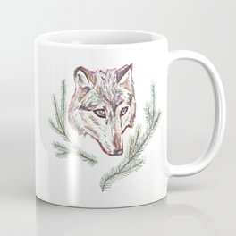 Wolf and Pine Branches Coffee Mug