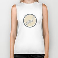 trout Biker Tanks featuring Trout Swimming Cartoon Circle by patrimonio