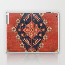 Southwest Tuscan Shapes II // 18th Century Aged Dark Blue Redish Yellow Colorful Ornate Rug Pattern Laptop & iPad Skin
