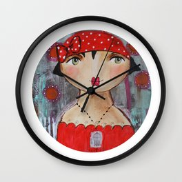 Mademoiselle Rouge aux petits pois Wall Clock