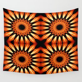 Orange & Black Pinwheel Flowers Wall Tapestry