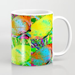 Tropical Leaf Pop Art Raindrops on Leaves in Bright Neon Colors Coffee Mug