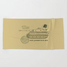 Michael Wittmann Panzer Ace 1331 Kursk Sand/Olive Green Beach Towel