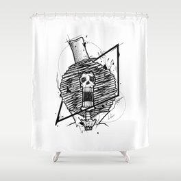Brook Handmade Drawing, Made in pencil and ink, Tattoo Sketch, Tattoo Flash, Blackwork Shower Curtain