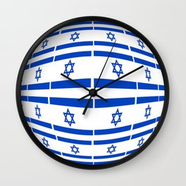 flag of israel 12- יִשְׂרָאֵל ,israeli,Herzl,Jerusalem,Hebrew,Judaism,jew,David,Salomon. Wall Clock