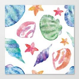 Summer Sea Shells Ocean Spirit Watercolor Canvas Print