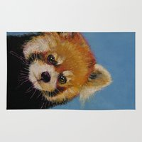 red panda Area & Throw Rugs featuring Red Panda by Michael Creese