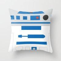r2d2 Throw Pillows featuring r2d2 by heartfeltdesigns by Telahmarie