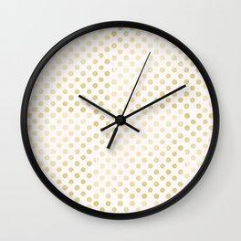 Vintage rustic faux gold white elegant polka dots pattern Wall Clock