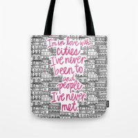cities Tote Bags featuring Cities by Raphaella Martelino