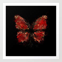 Butterfly Tree - Gold and Red Art Print
