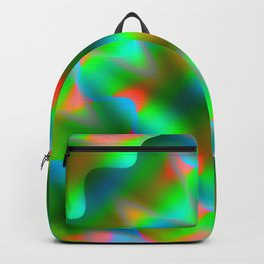 Bright pattern of blurry light blue and green flowers in a pastel kaleidoscope. Backpack
