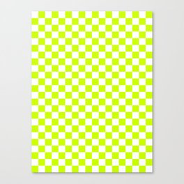 Small Checkered - White and Fluorescent Yellow Canvas Print