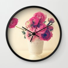 Cottage Flowers Wall Clock