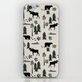 Camping woodland forest nature moose bear pattern nursery gifts iPhone Skin