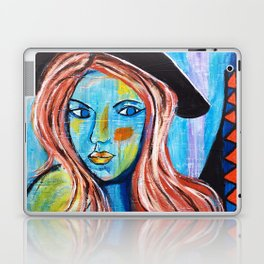 Blue Lady With Hat Laptop & iPad Skin