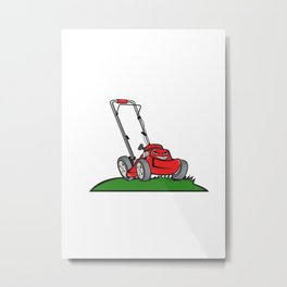 Lawnmower Front Isolated Cartoon Metal Print