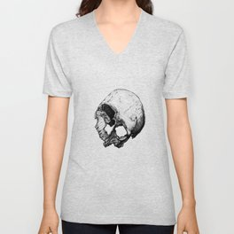 Human Skull Vintage Illustration  Unisex V-Neck