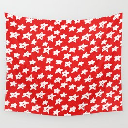 Stars on red background Wall Tapestry