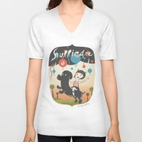 cartoons V-neck T-shirts featuring Hurricane! by Miggy Borja