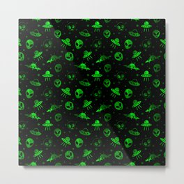 Aliens and UFOs Pattern Metal Print