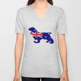 Australian Flag - Cocker Spaniel Unisex V-Neck