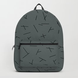 Abstract criss cross stripes irregular minimal lines stone blue Backpack