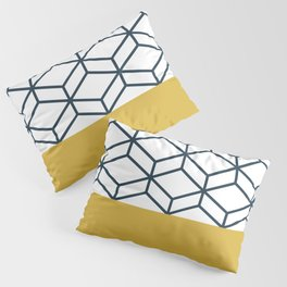 Geometric Honeycomb Lattice in Blue and Mustard Yellow on White. Modern. Clean. Minimalist Pillow Sham